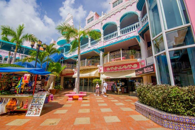ORANJESTAD, ARUBA - NOVEMBER 05, 2015: Port used. ORANJESTAD, ARUBA - NOVEMBER 05, 2015: Downtown port and shopping disctrict used for tourism of cruise ships royalty free stock images