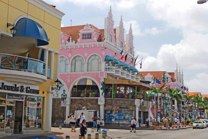 Oranjestad Aruba. Stores in the island of Aruba royalty free stock photo