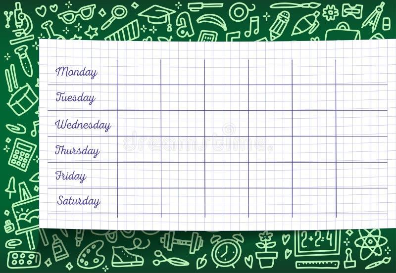 Orario della scuola del modello di programma di lezione sullo strato a quadretti Piani di lezione settimanali sulla lavagna verde fotografia stock