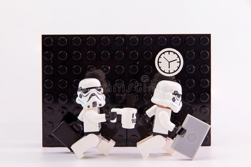 Orario di lavoro delle guerre stellari di Lego fotografia stock libera da diritti