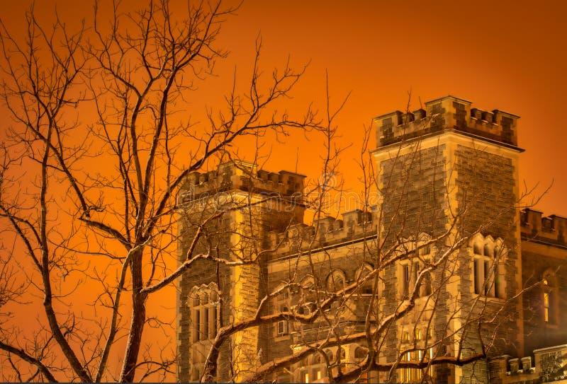 Orario invernale Castel nella neve fotografia stock libera da diritti