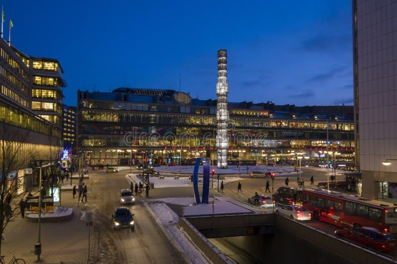 Orario invernale di Stoccolma del quadrato di Sergels fotografie stock