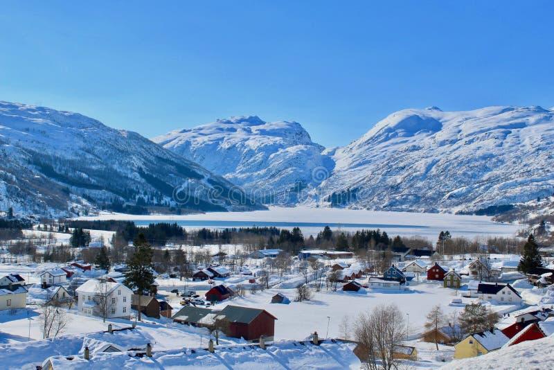Orario invernale in Røldal, Norvegia fotografie stock libere da diritti