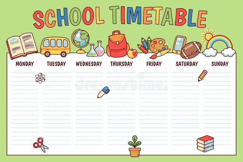 Orario per la scuola illustrazione di stock