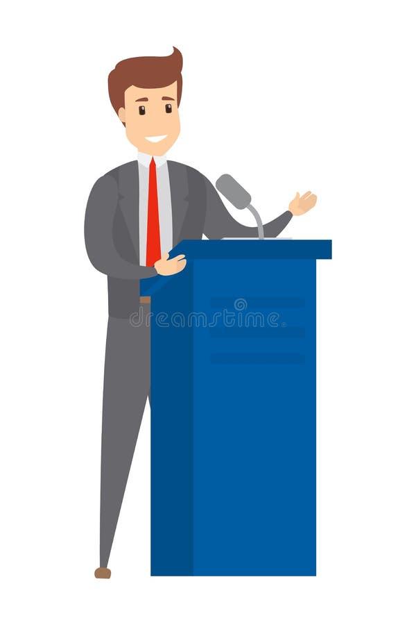 Orateur parlant de la tribune illustration libre de droits