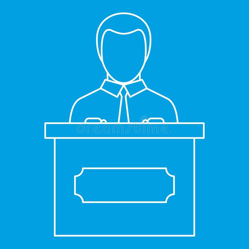 Orator speaking from tribune icon, outline style royalty free illustration