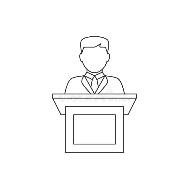 Orator speaking from tribune line icon stock illustration
