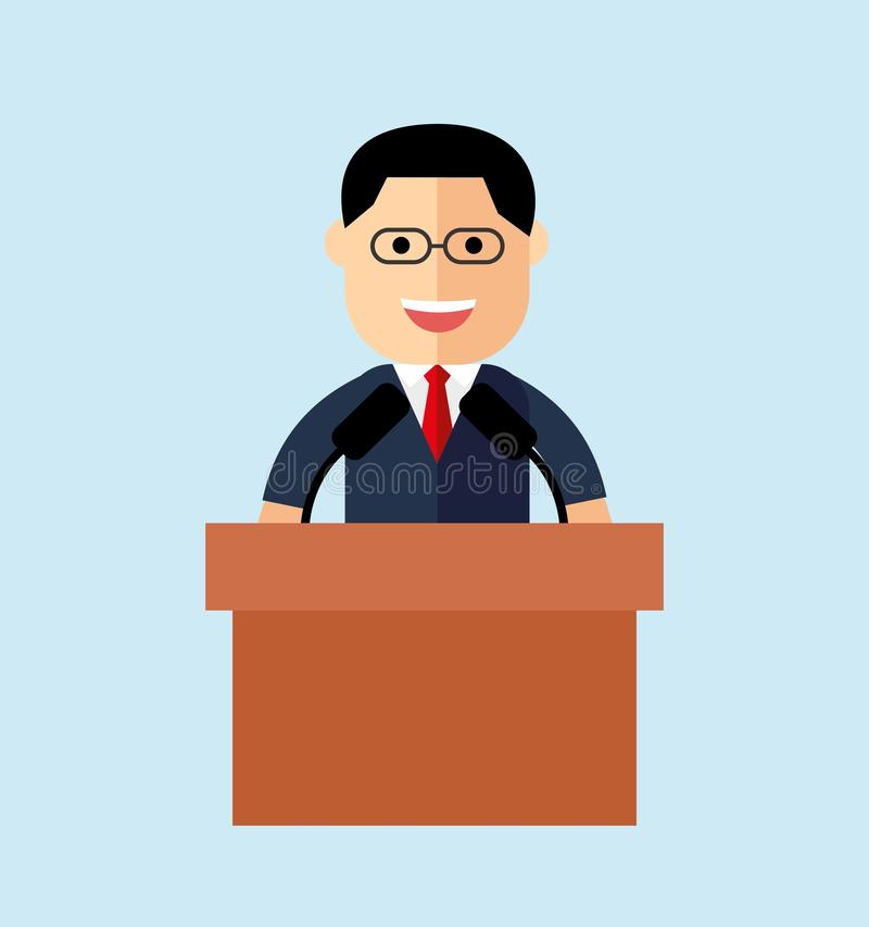 Orator speaking from the tribune. public speaker. vector illustration in the flat style.  royalty free illustration