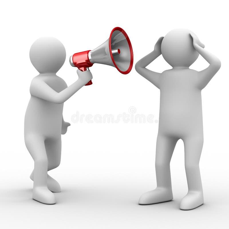 Orator speaks in megaphone. Isolated 3D image vector illustration
