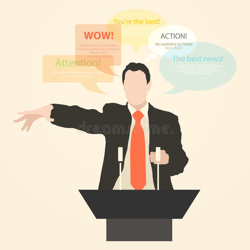 Download Orator Stands Behind A Podium With Microphones Stock Illustration - Illustration of gestures, candidate: 39503546