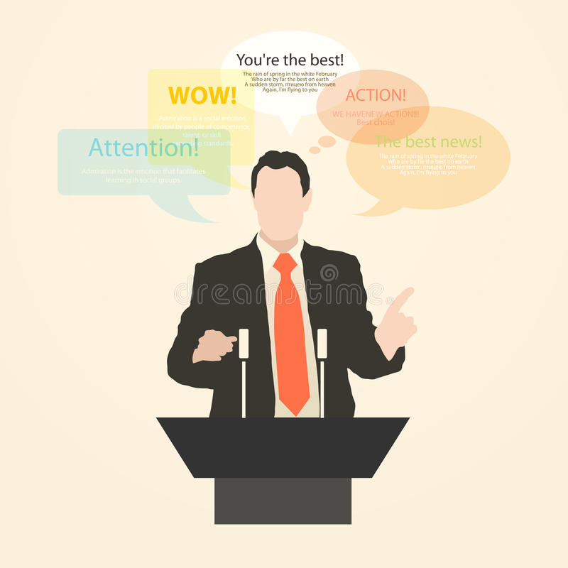 Download Orator Stands Behind A Podium With Microphones Stock Illustration - Illustration of character, gestures: 39503816