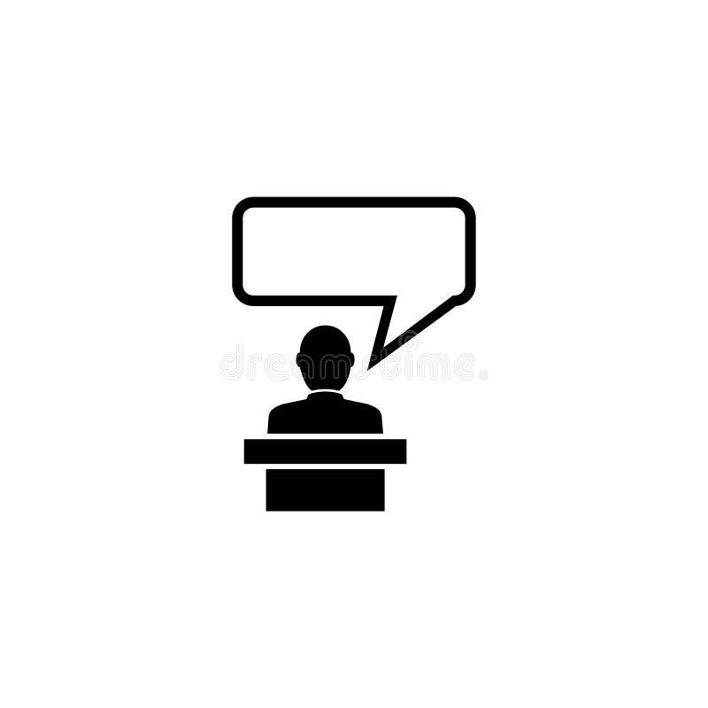Oratore che parla dalla tribuna, icona piana di vettore dell'altoparlante illustrazione vettoriale