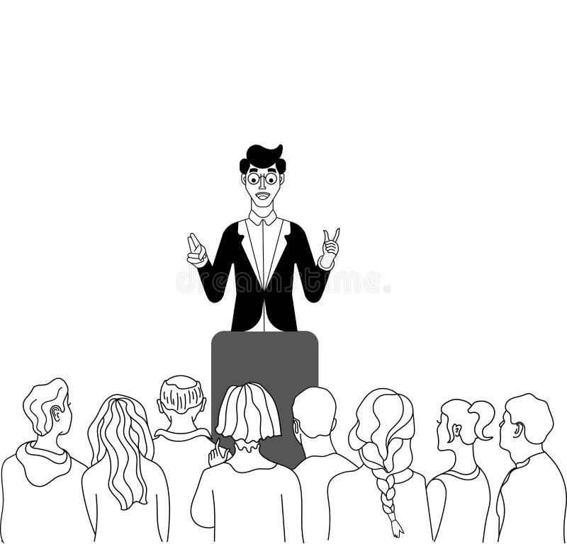 Oratore Presentando un esposto in scena in scena al pubblico nella sala per conferenze Pubblico o schizzo di conferenza, officina illustrazione vettoriale