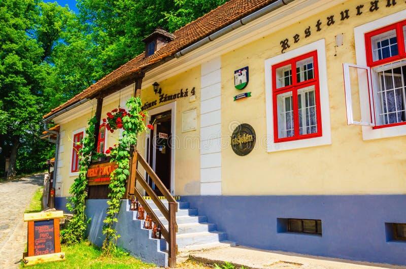 Orava城堡的典型的斯洛伐克餐馆 库存图片