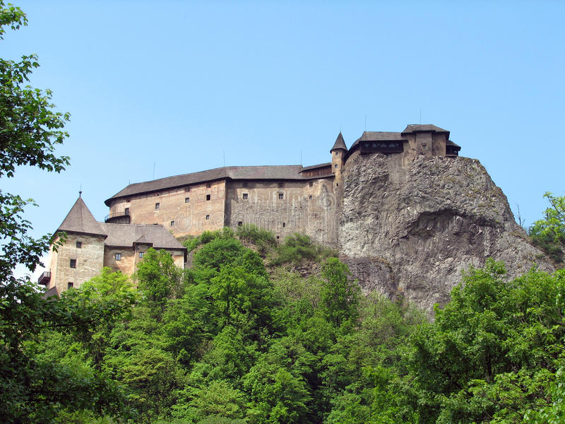 Orava castle. (Hungarian: Árva vára, German: Arwaburg, Slovak: Oravský hrad) is the name of a castle situated on a high rock (520 meters/1,760 feet) royalty free stock photo