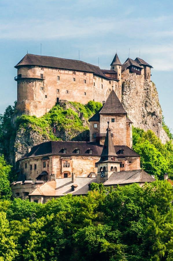 Orava Castle or Oravský hrad is situated on a high rock above Orava river in the village of Oravský Podzámok, Slovakia. It is. Oravsky, Slovakia - June 19 royalty free stock photo
