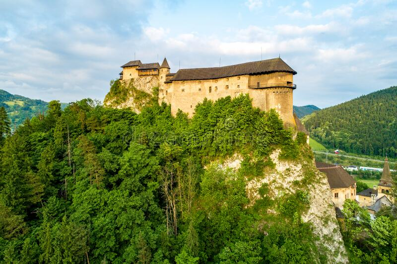 Orava castle in Slovakia. Aerial view royalty free stock image