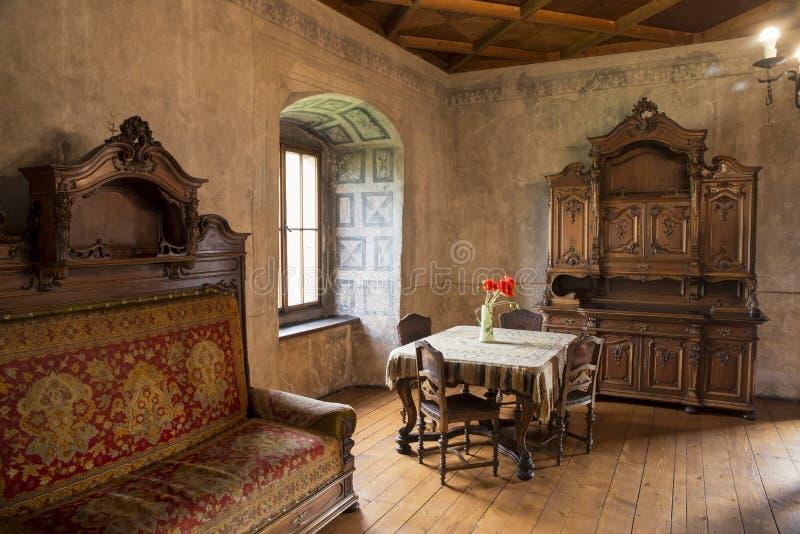 Orava slottOravsky hrad slovakia Gränsmärke som är berömd arkivfoton