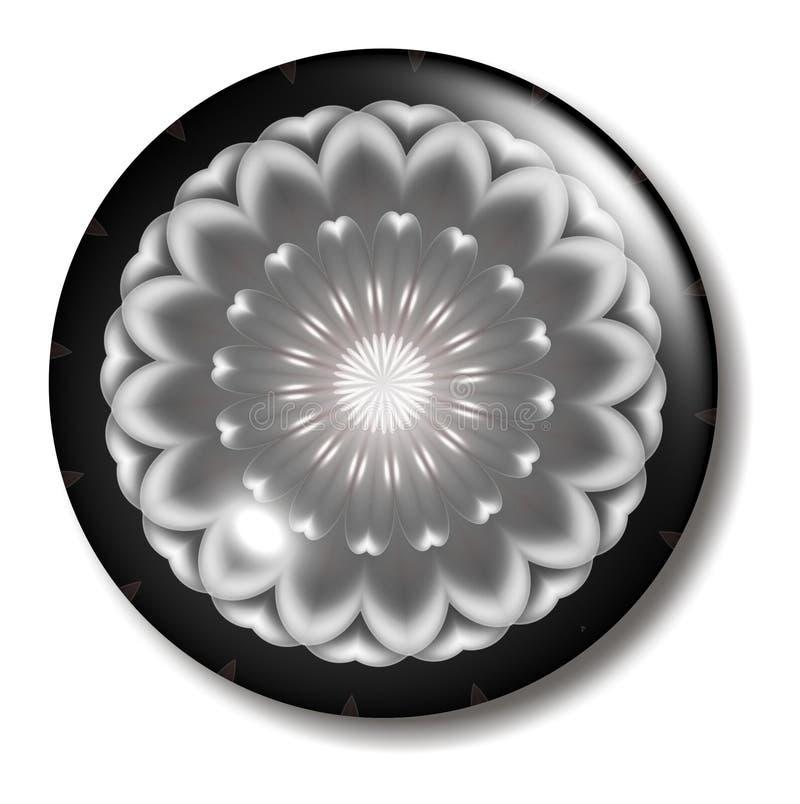 Orb cor-de-rosa preto da tecla da flor ilustração do vetor