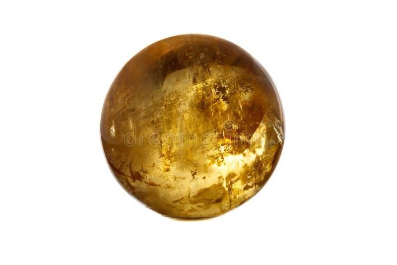 Orb för Calcite för makromineralsten på ett vitt bakgrundsslut upp royaltyfria bilder