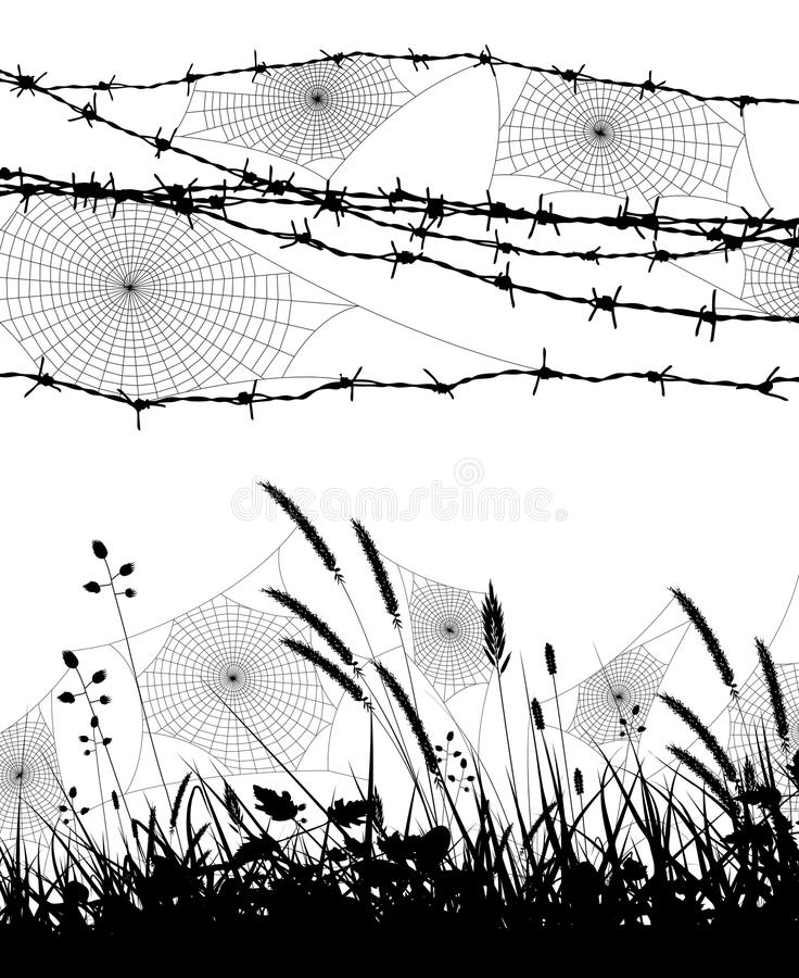 Orb spider webs. Two editable vector silhouettes of spider webs in grass and on a barbed wire fence stock illustration