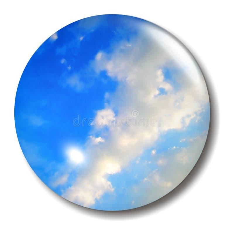 Orbe del botón del cielo azul ilustración del vector