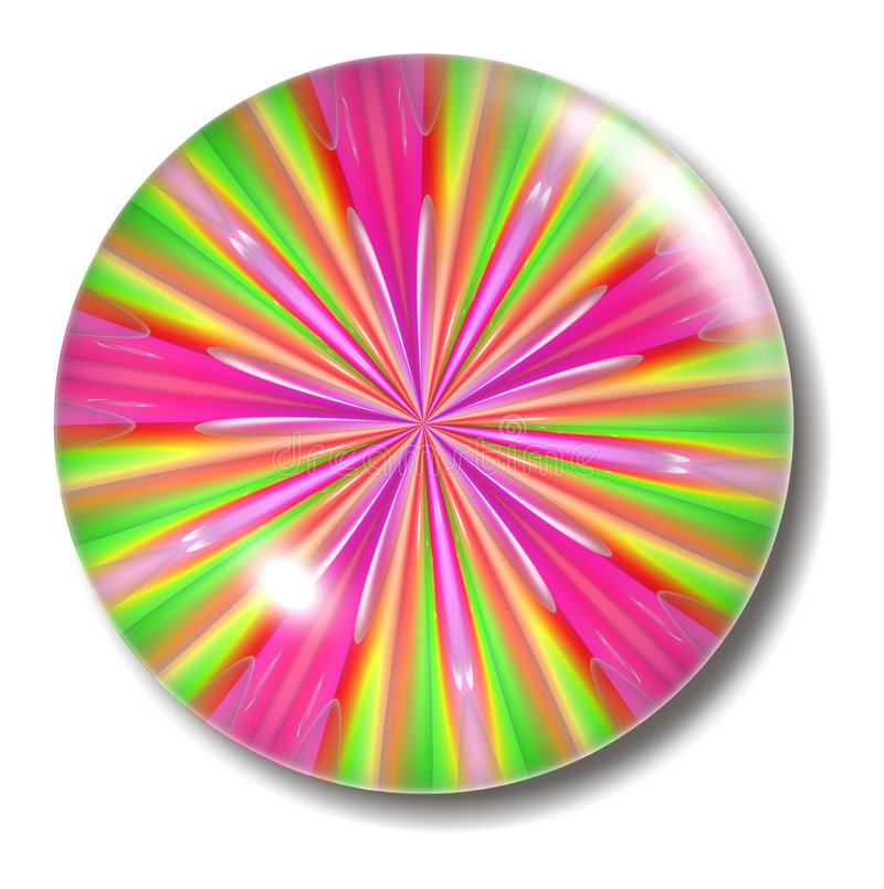 Orbe verde rosado del botón ilustración del vector