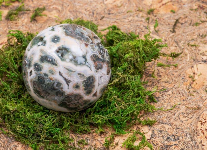 Orbicular oceaanjaspisgebied met gekristalliseerd vugs van Madagascar op mos, bryophyta en cork stock foto's