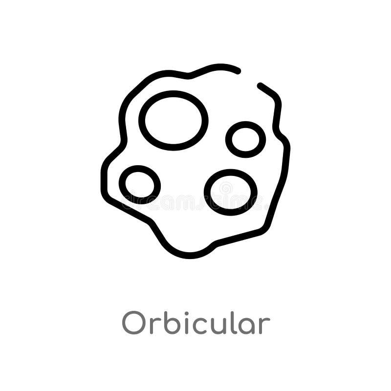 orbicular vektorsymbol för översikt isolerad svart enkel linje beståndsdelillustration från naturbegrepp Redigerbar vektorslaglän vektor illustrationer