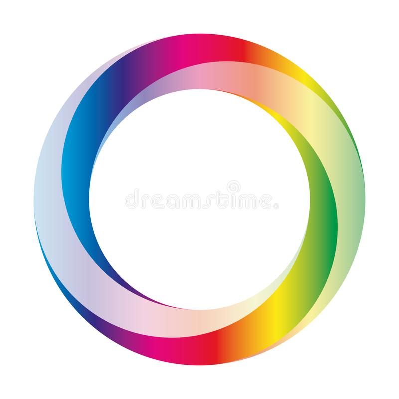 Orbit icon. Rounded vector ring designed with blended gradients in rainbow spectrum colors.  stock illustration