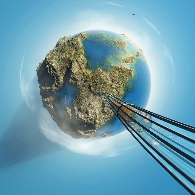 Orbital express. Above the Earth stock illustration