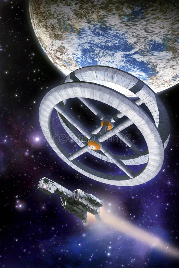 Orbital space station and space fighter stock illustration