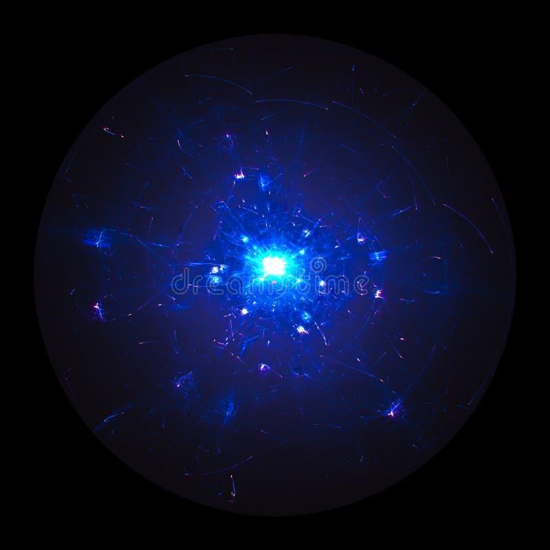 Orbitales ou particules de haute énergie autour d'un noyau Mécanicien de Quantum illustration stock