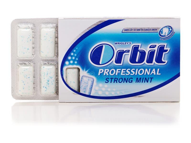 Orbite a pastilha elástica forte da hortelã produzida por Wrigley foto de stock