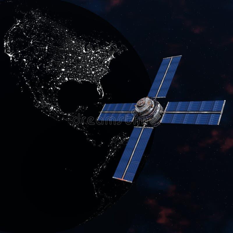 orbiting satellitavstånd sputnik för jord royaltyfri illustrationer