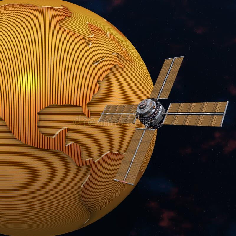 Orbiting Satellitavstånd Sputnik För Jord Arkivbild