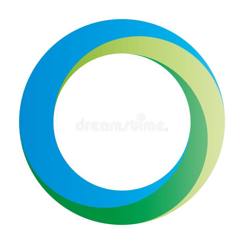 Orbity ikona Zaokrąglony wektoru pierścionek projektujący z mieszającymi gradientami wewnątrz zielenieje błękit ilustracja wektor