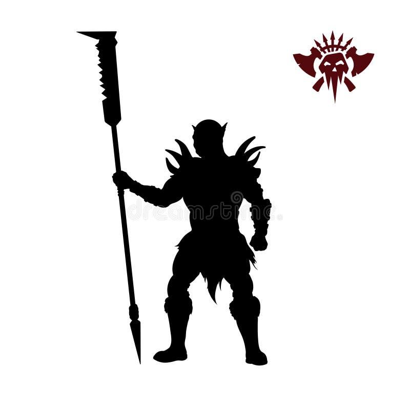 orc黑剪影与矛的在背景 幻想字符 有武器的恼怒的战士 野蛮纹身花刺 向量例证