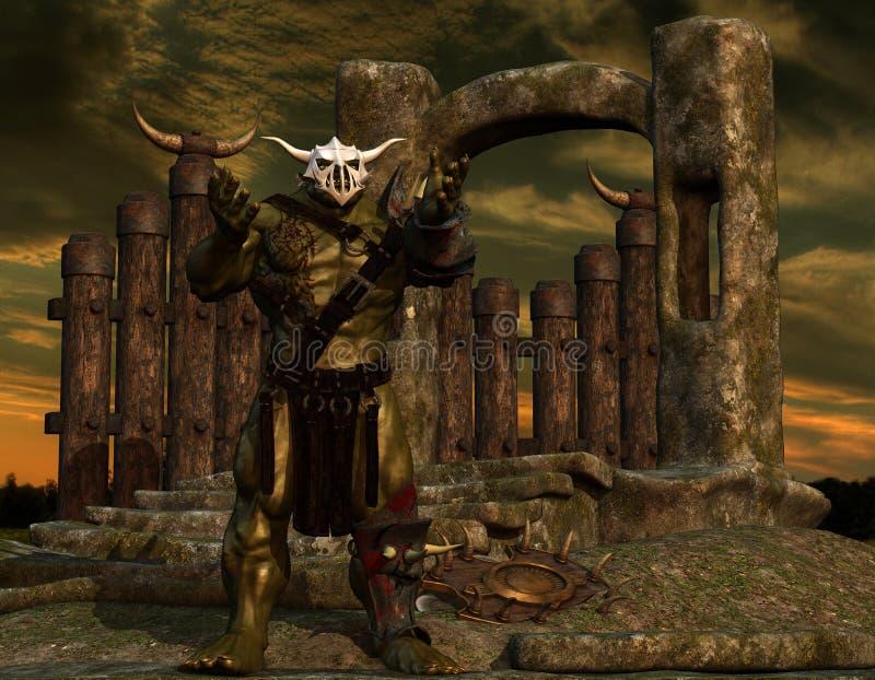 Orc σε έναν τοίχο συνόρων απεικόνιση αποθεμάτων