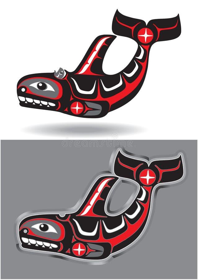 Orca (baleia de assassino) no estilo nativo da arte ilustração do vetor