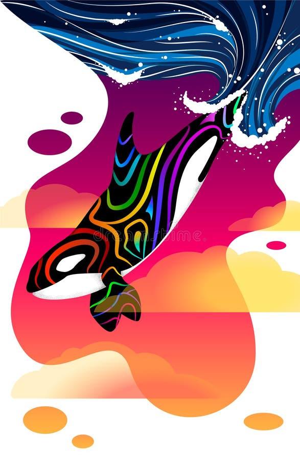 Orca colorida delante de la puesta del sol stock de ilustración