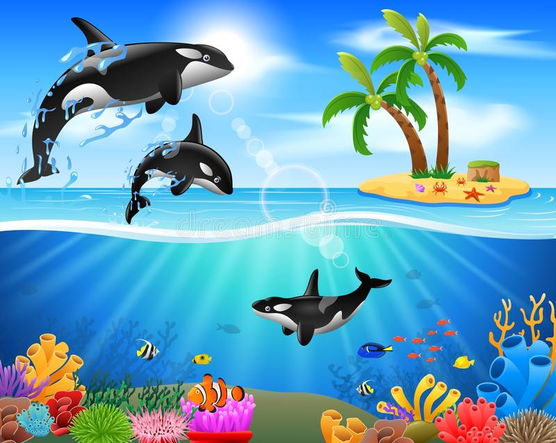 Orca de la historieta que salta en el océano azul ilustración del vector