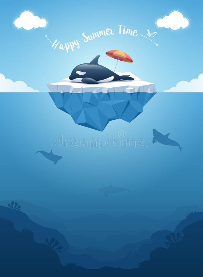 Orca or killer whale sleeping on the iceberg with above and underwater view. Vector illustration. Cute Orca or the killer whale sleeping on the iceberg with a royalty free illustration