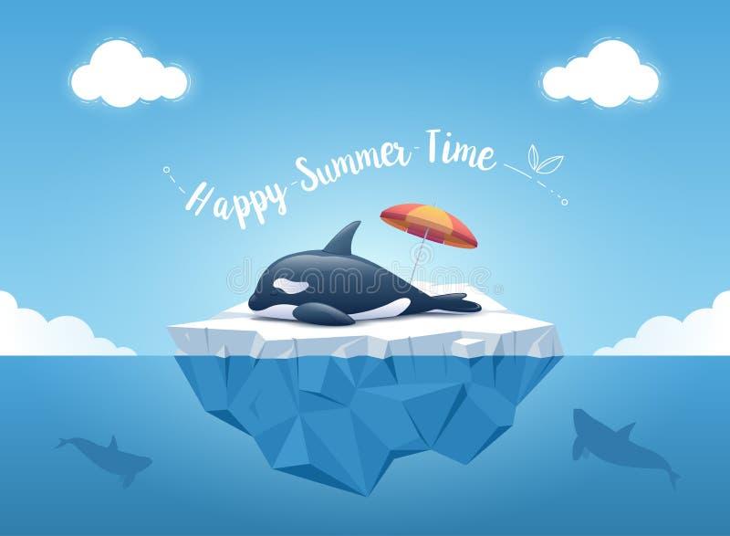 """Orca linda o la orca que duerme en el iceberg con el parasol de playa y el  """"Happy de Time†del verano del mensaje ilustración del vector"""