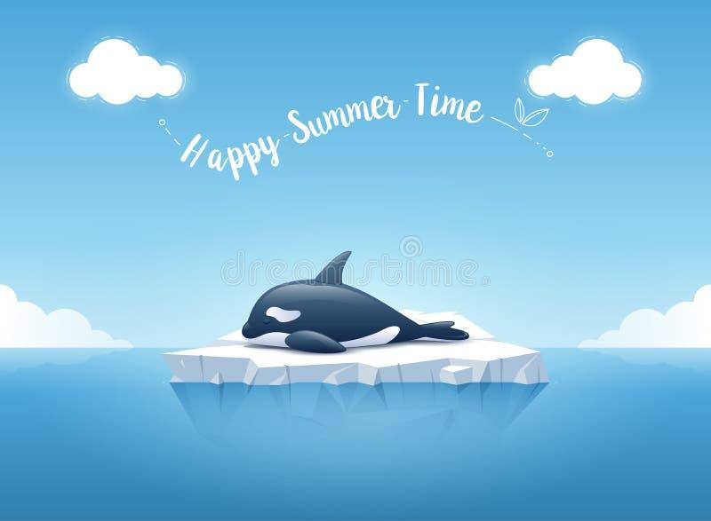 """Orca linda o la orca que duerme en el iceberg con un  """"Happy de Time†del verano del mensaje Iceberg que flota en el océano a stock de ilustración"""