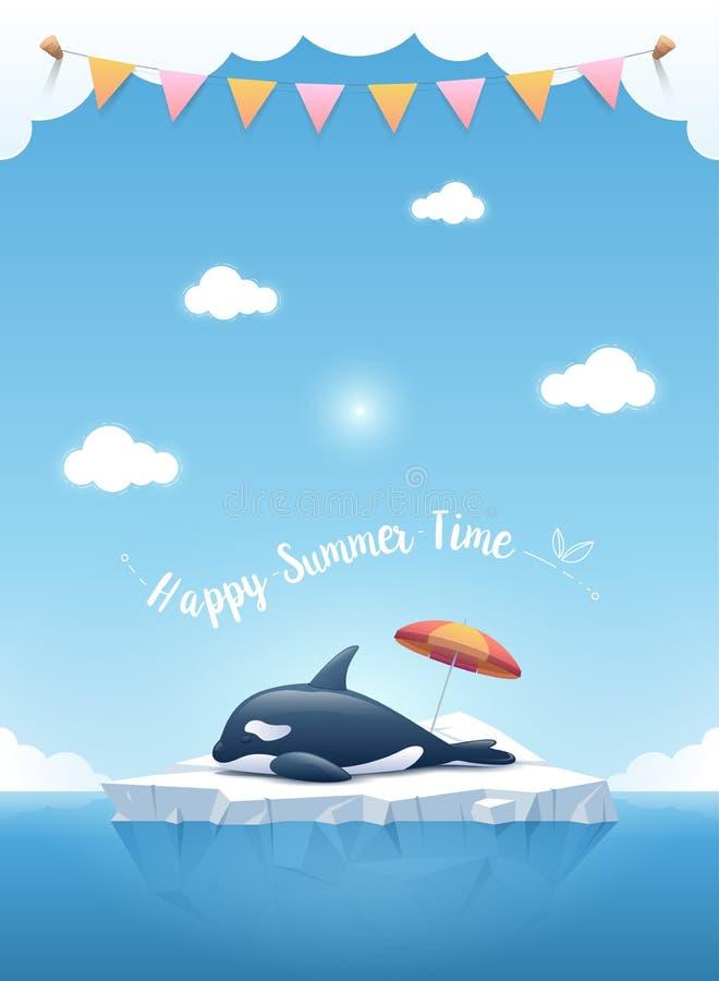 Orca o la orca que duerme en el iceberg y las cintas colgantes en las nubes en el top libre illustration