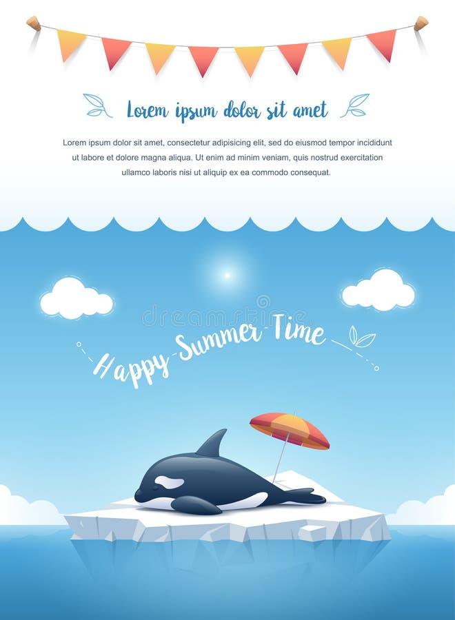 Orca o orca que duerme en el iceberg con con un mensaje de texto y cintas colgantes en las nubes en el top Ilustración del vector stock de ilustración