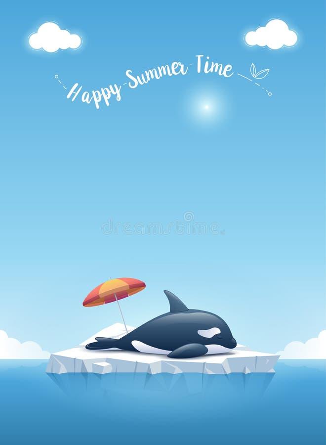 """Orca o orca que duerme en el iceberg que flota en un océano azul con un  """"Happy de Time†del verano del mensaje Ilustración d ilustración del vector"""