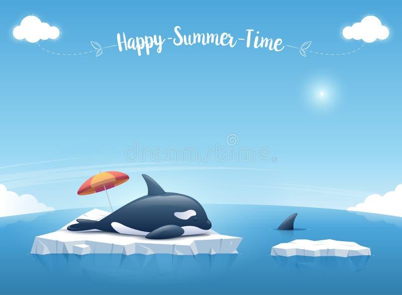 """Orca o orca que duerme en el iceberg que flota en un océano azul con un  """"Happy de Time†del verano del mensaje Ilustración d libre illustration"""
