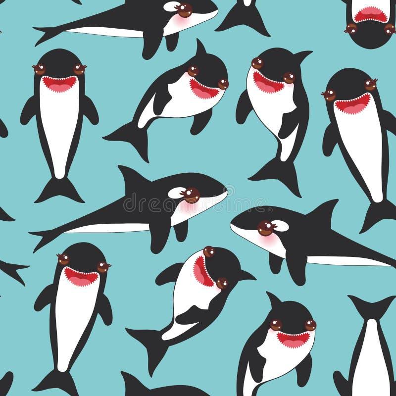 Orca sem emenda da orca dos desenhos animados do teste padrão, baleia de assassino, lobo de mar Kawaii com mordentes cor-de-rosa  ilustração do vetor